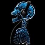 Скелет със слушалки